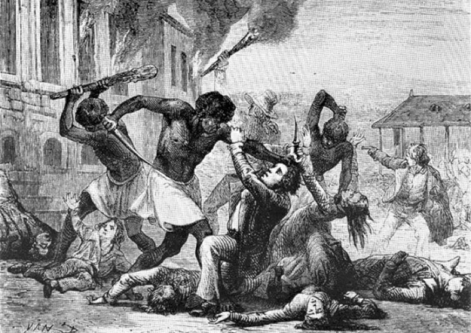 Zeitgenössische Darstellung eines Massakers an Weißen durch Schwarze bei der haitianischen Revolution 1791.